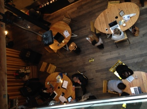 hot-desking in cafe zone of collaborative workspace